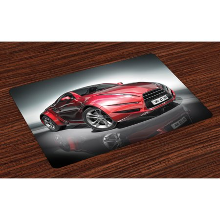 - Cars Placemats Set of 4 Modern Era Sports Car Designed for Spirited Performance and Fast Speed Racing Print, Washable Fabric Place Mats for Dining Room Kitchen Table Decor,Silver Red, by Ambesonne