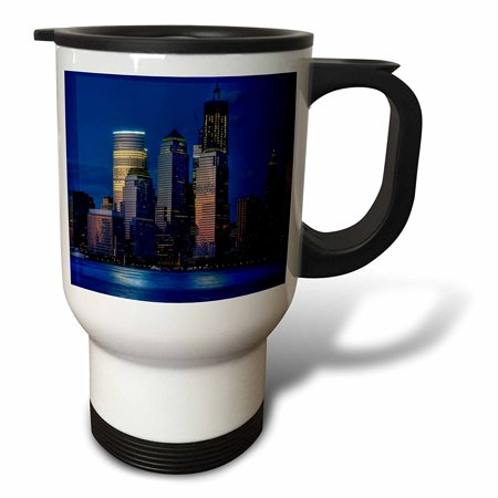 3Drose Tm 100226 1 Blue Hour Skyline Of Hudson River And Nyc Travel Mug  14 Oz  Stainless Steel  White