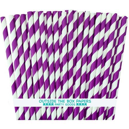 Purple and White Striped Straws  100 - Paper Straws Purple