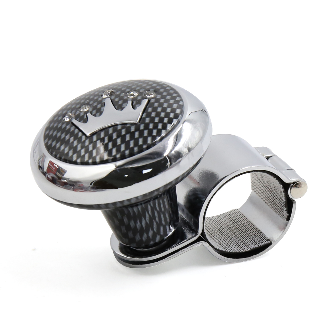 Unique BargainsCarbon Fiber Crown Pattern Design Car Steering Wheel Spinner Knob Power Handle