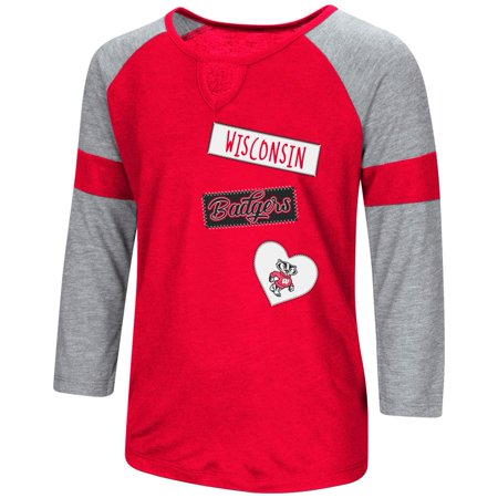 University of Wisconsin Badgers Youth Girls 3/4 Sleeve All You Need Tee