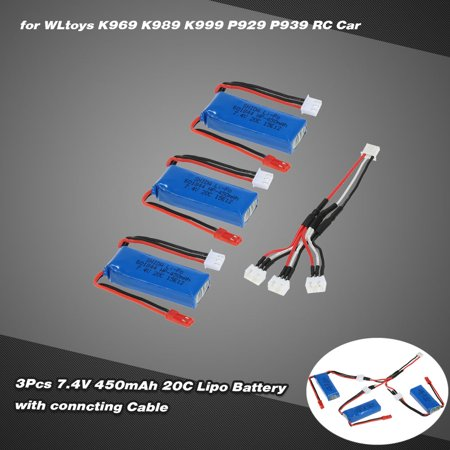 3Pcs 7 4V 450Mah 20C Lipo Battery With Connecting Cable For Wltoys K969 K989 K999 P929 P939 Rc Car