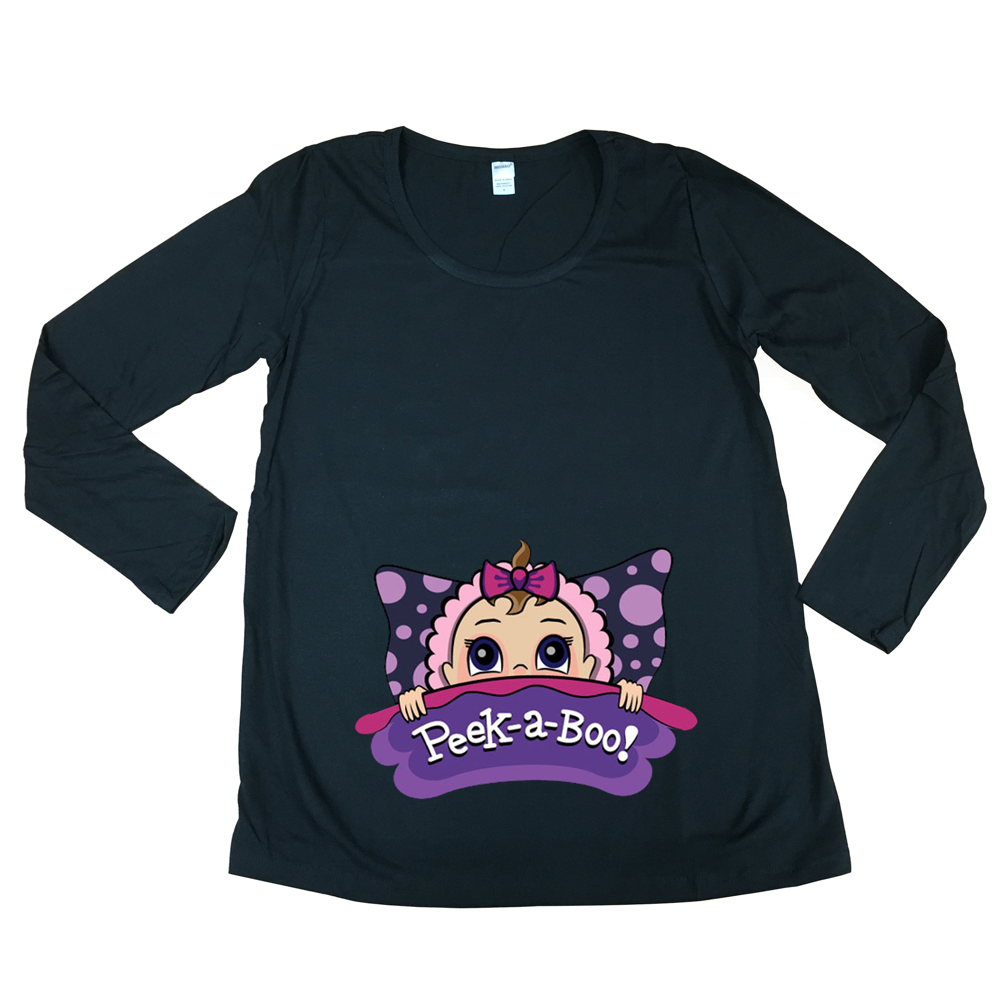 Long Sleeve Baby Girl Pillow Cute Future Mom Mommy Maternity DT T-Shirt Tee