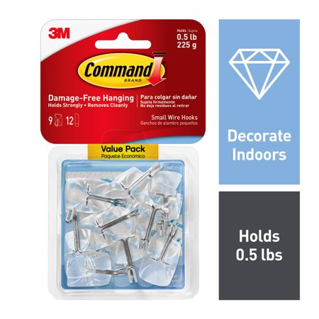 Command Clear Small Wire Hooks, 9 Hooks, 12 Strips (Holds 0.5 lb) ()