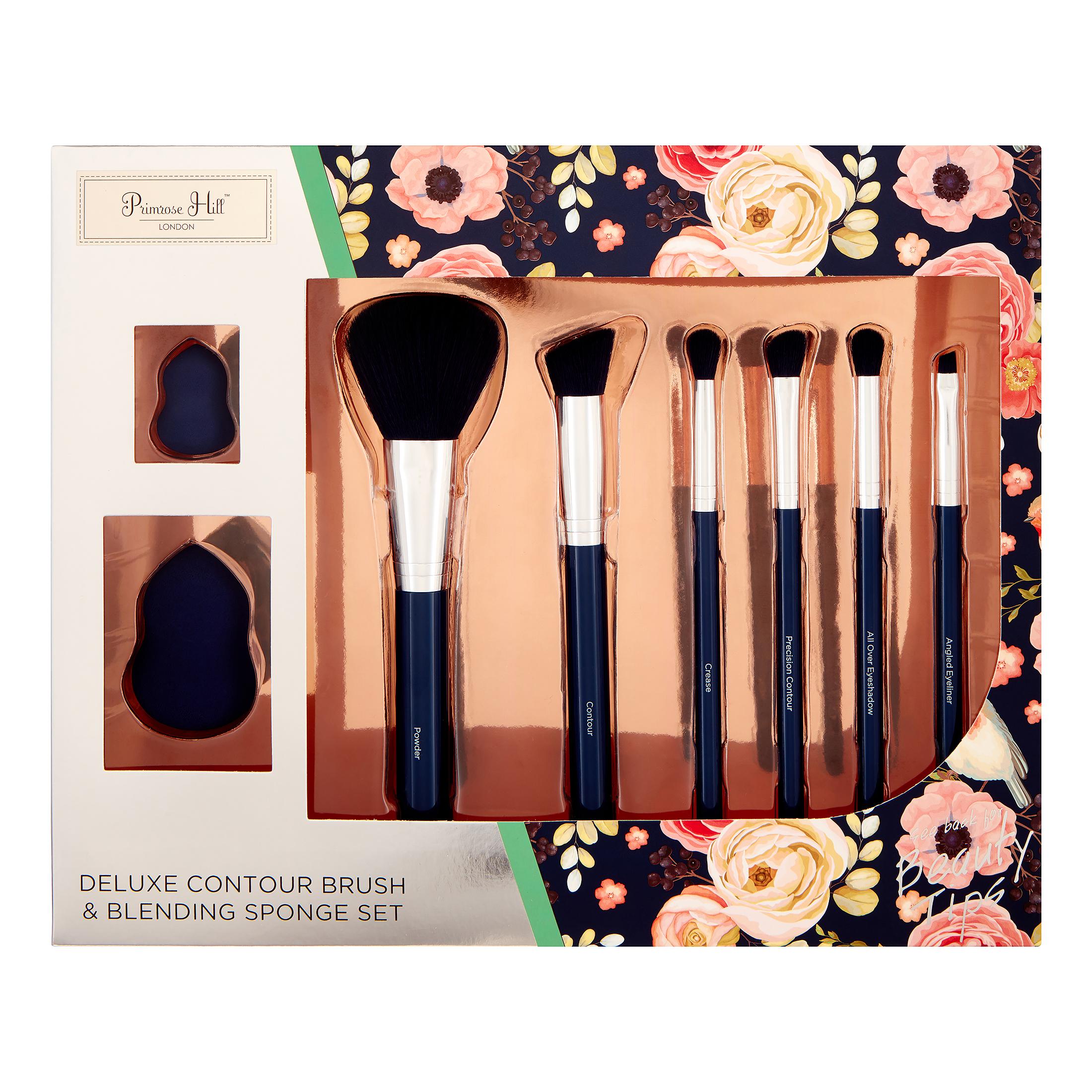 ($70 Value) Primrose Hill Cosmetic Contour Brush & Blending Sponge Set Rose Floral