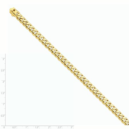 14k Yellow Gold 7.25mm Hand Rounded Curb Link Bracelet 8 Inch Chain H Fine Jewelry Gifts For Women For Her - image 2 of 6