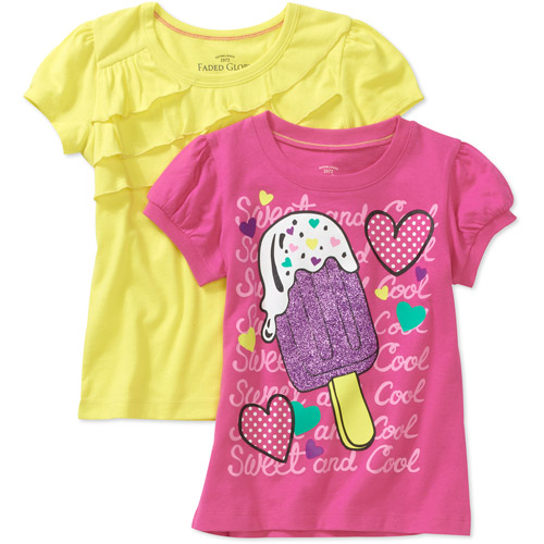 Faded Glory Little Girls' Graphic and Solid Tees, 2 Pack