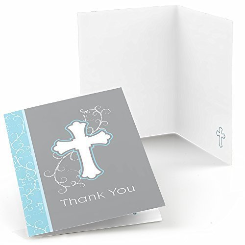 Little Miracle Boy Blue & Gray Cross - Baptism Party Thank You Cards (8 count)