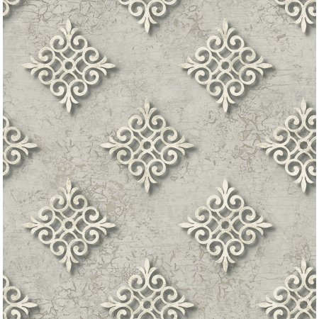 Diamond Medallion Wallpaper In Steel Ds60708 By Wallquest Walmart Com
