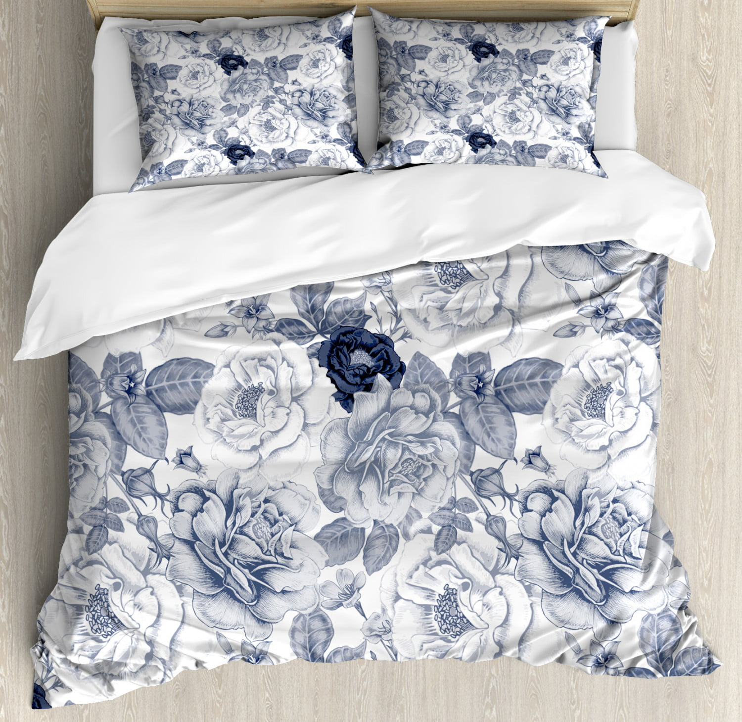 Shabby Chic Duvet Cover Set Garden Spring Roses Buds With Leaves Flowers Romantic Image Artwork Decorative Bedding Set With Pillow Shams Blue Grey And White By Ambesonne Walmart Com Walmart Com