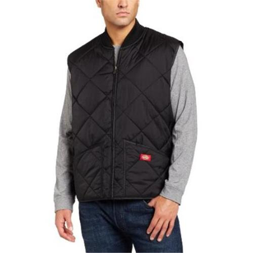 Dickies Mens Diamond Quilted Nylon Vest, Black - XXL