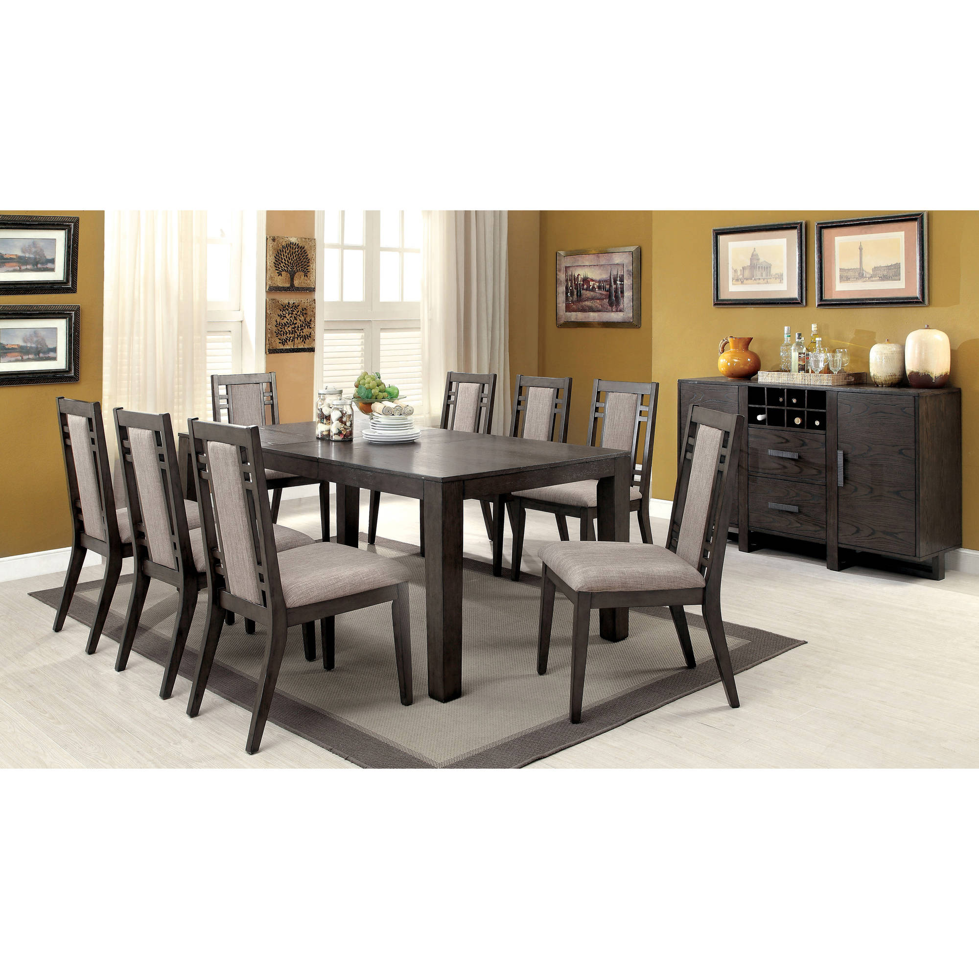 Charmant Furniture Of America Ferrel Modern 9 Piece Dining Set, Weathered Gray