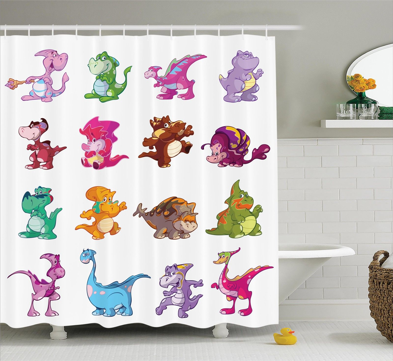 Jurassic Decor Shower Curtain Set, Collection Of Cute Dino'S Dinosaurs Extinction Funny Comic Child Illustration, Bathroom Accessories, 69W X 70L Inches, By Ambesonne
