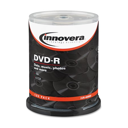 Innovera DVD-R Discs, 4.7GB, 16x, Spindle, Silver, 100/Pack -IVR46890