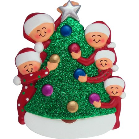 Family Decorating Tree 5 People Personalized Christmas Ornament DO-IT-YOURSELF
