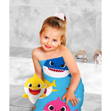 Baby Shark 2-Piece Bath Towel and Character Scrubby Set, Kids Bath Set