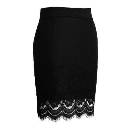 Women Crochet Lace Skirt Elastic Waist Hollow Out Work Career Mini OL Skirt Black - image 3 of 7