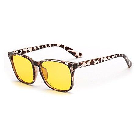Cyxus Blue Light Blocking Computer glasses, UV Protection Anti Eye Strain, Yellow Tinted Lens Tortoise Leopard Print Frame Eyewear (3 Computer Eyes)