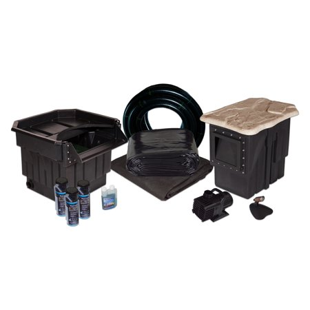 """Half Off Ponds - PVCLP6 - PondBuilder Elite 5200 Water Garden & Pond Kit with 15' x 25' PVC Liner, 22"""" Waterfall, Skimmer and Submersible Pump"""
