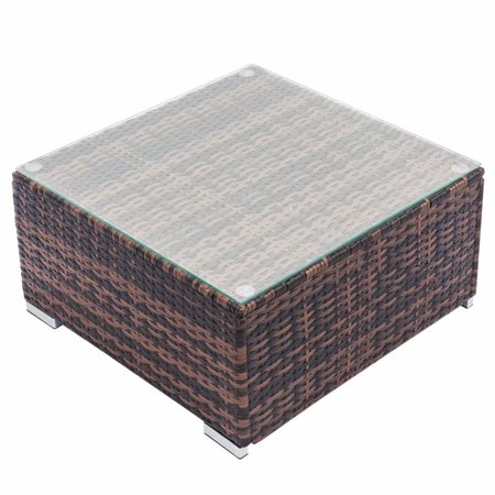 Outdoor Wicker Table Patio Poolside Lawn Garden Rattan Coffee Table Side Table with Glass Top Brown ()