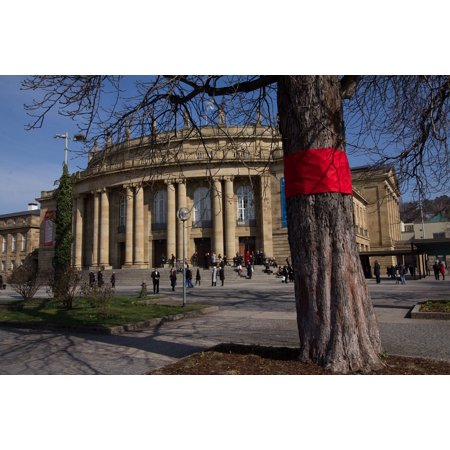 Canvas Print Movement Tree Building Theater City Red Stuttgart Stretched Canvas 10 x - Theatre Movement