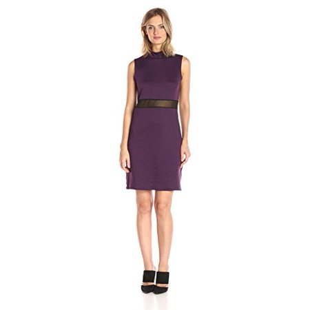 Star Vixen Women's Sleeveless Stretch Illusion Inset Waist Dress with Mock Turtleneck, Plum, Large (Plumb Dress)