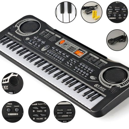 icoco 61 Key Children's Digital Keyboard Music Piano Keyboard On Sale for Adults Or Kids Beginners Electronic W/Mic Organ on Clearance, black and white - image 12 de 12