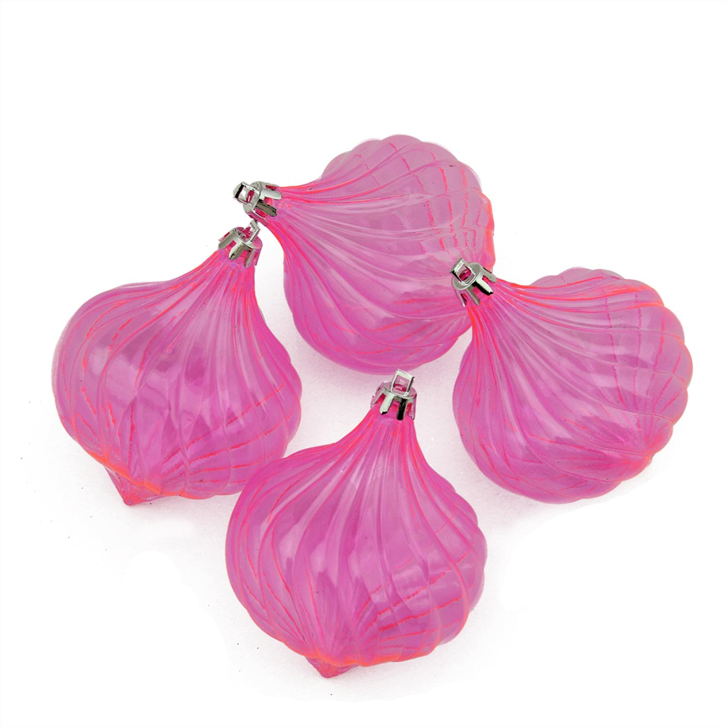 "4ct 4.5"" Pink Transparent Shatterproof Onion Christmas Ornaments"