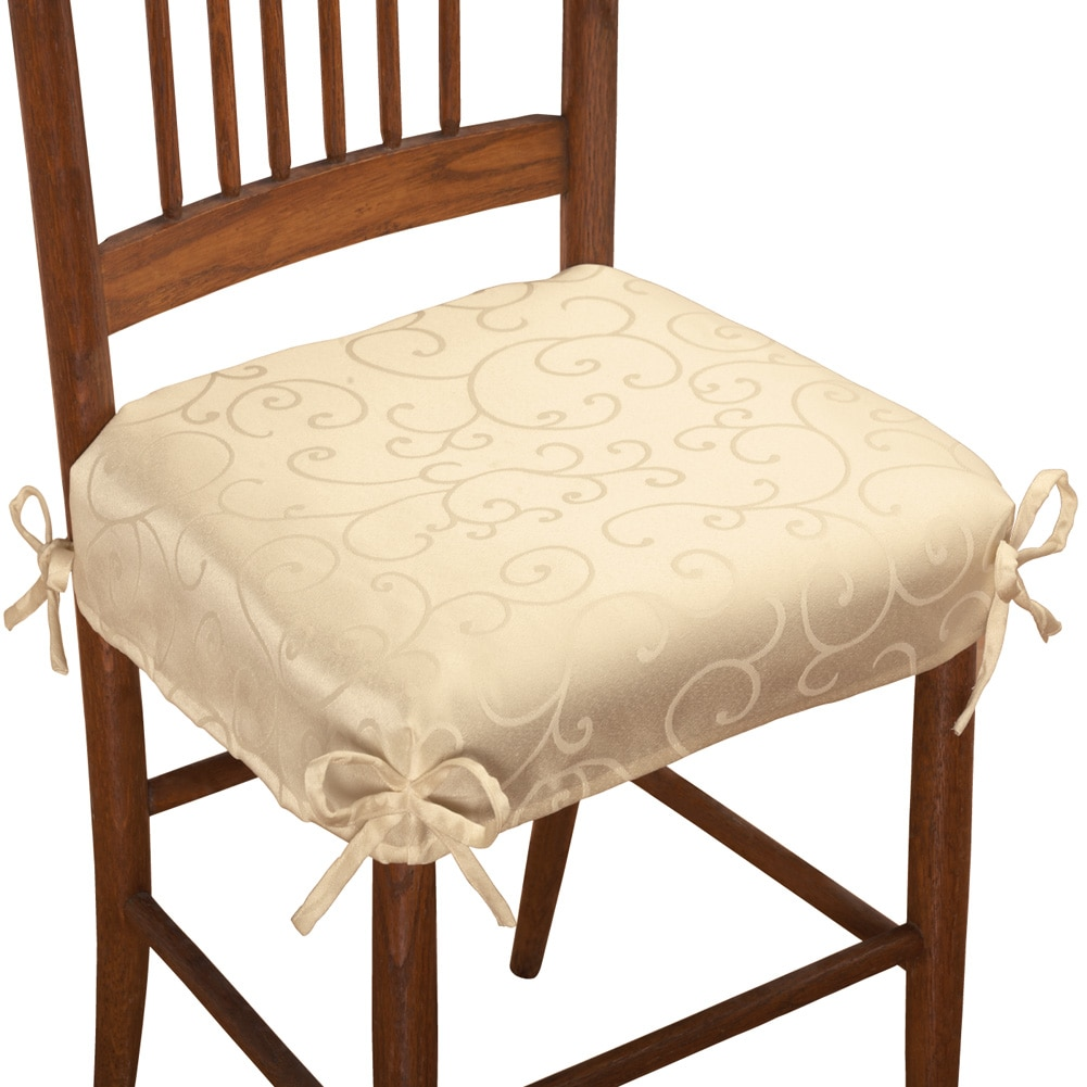 Scroll Damask Chair Cushion Seat Covers   Set Of 2, Cream