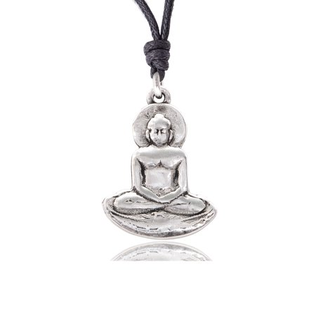 New Buddha Yoga Silver Pewter Charm Necklace Pendant Jewelry With Cotton Cord (Yoga Charms)
