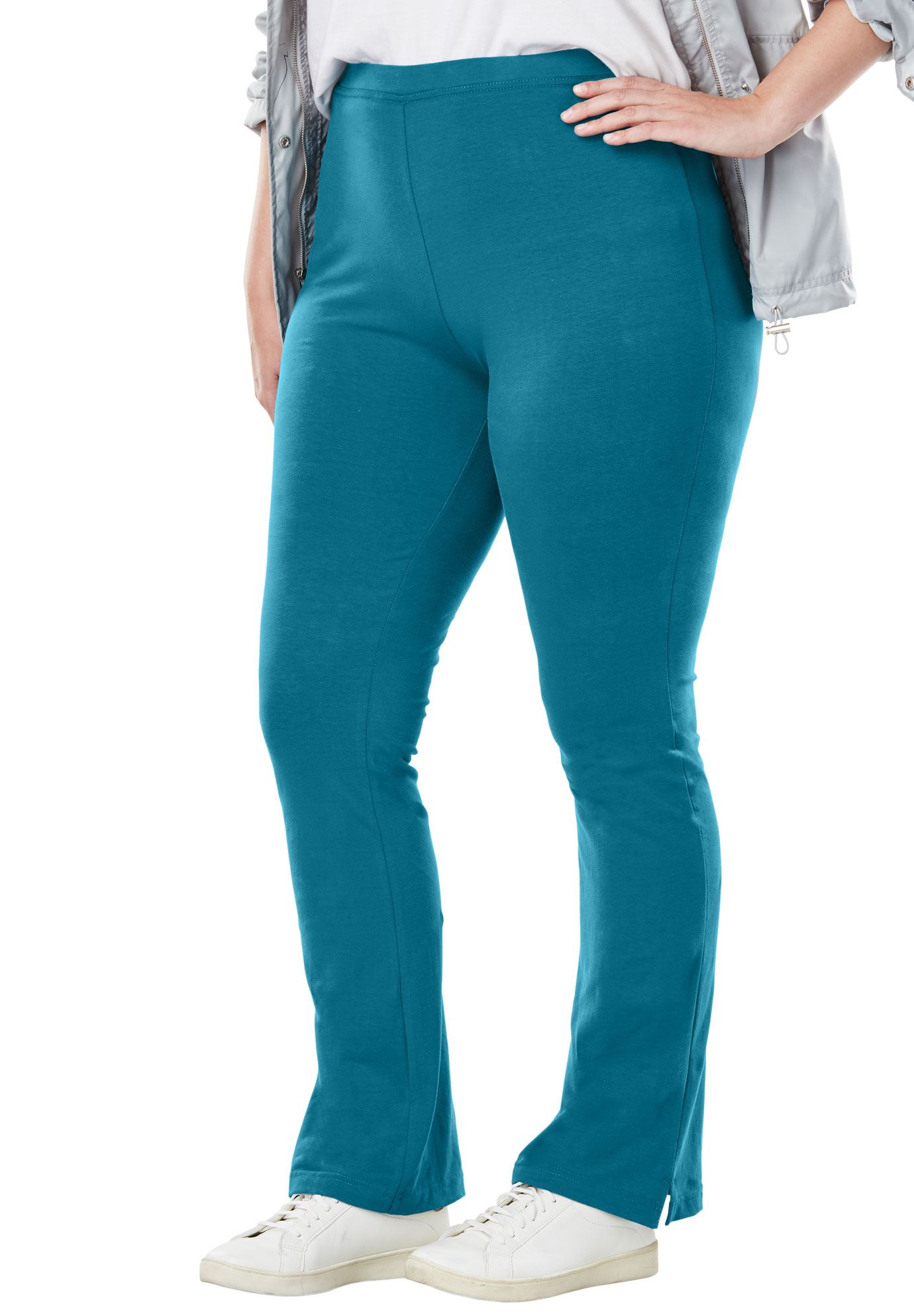 Plus Size Tall Stretch Cotton Bootcut Yoga Pant