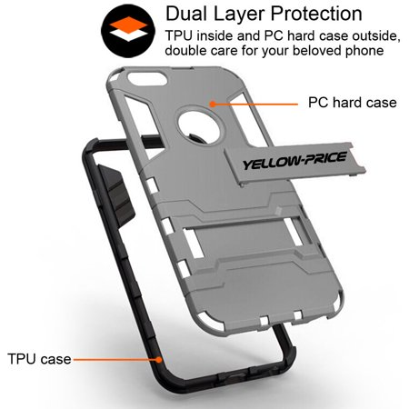 LivEditor iPhone 6 Plus 5.5'' Protective Case Armor [Built-in Stand+Anti-Shock Cover] - image 5 de 7