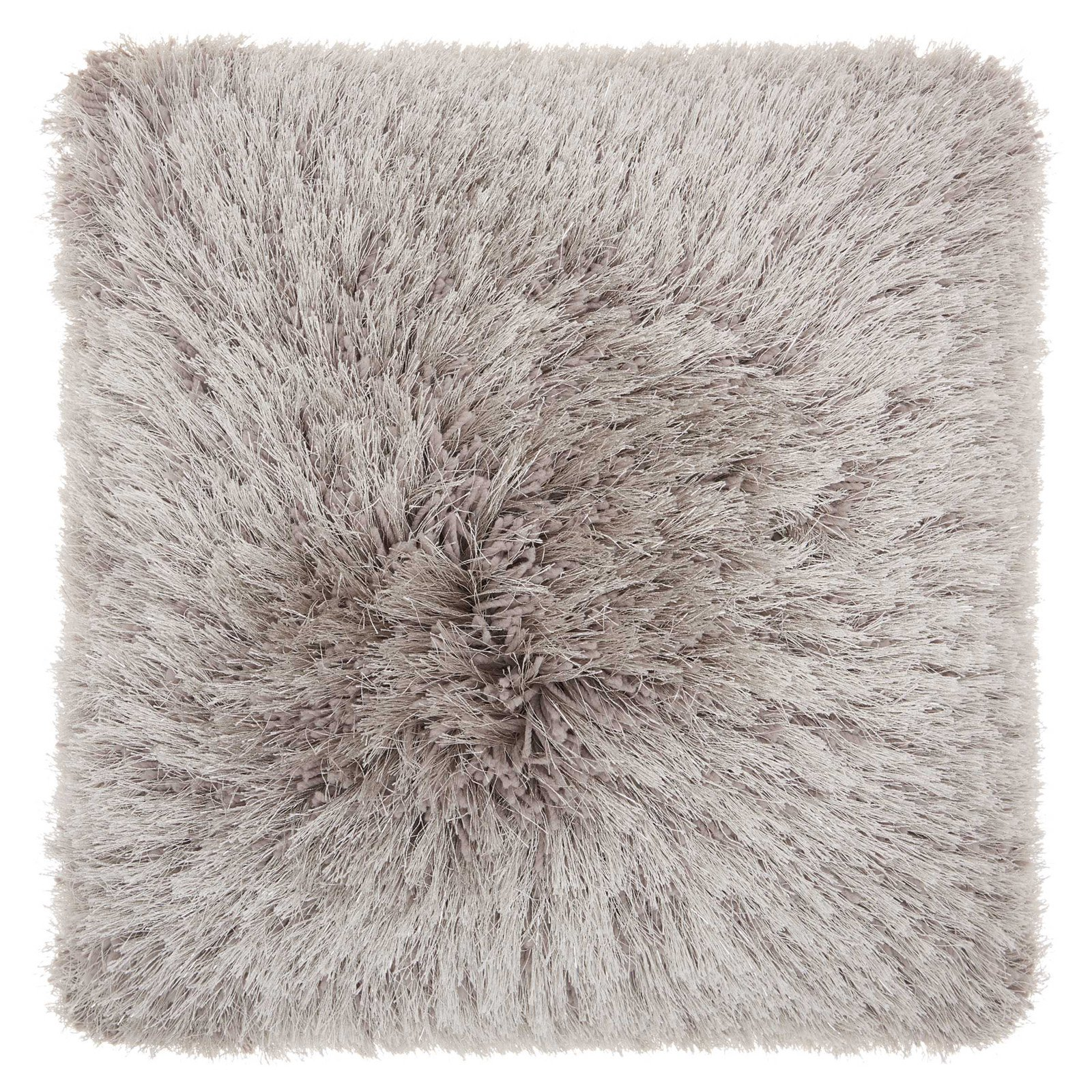 "Nourison Yarn Shimmer Shag Decorative Throw Pillow, 20"" x 20"", Light Grey"