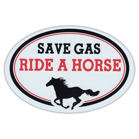 Oval Car Magnet - Save Gas Ride A Horse - Magnetic Bumper Sticker