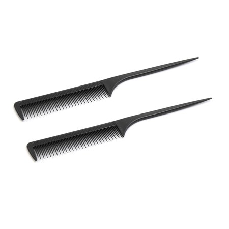 2pcs Plastic Hair Styling Hairdressing Tool w Short Long Pin Fluffy Rattail