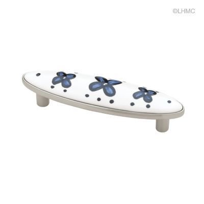 (5 Pack) Brushed Satin Nickel Pull - Ceramic Blue Flowers 3