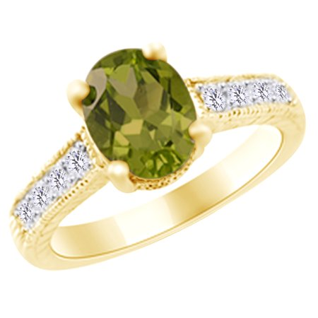 (2 cttw) Simulated Green Peridot & White Natural Diamond Antique Style Engagement Ring In 14k Yellow Gold With Ring Size 12.5