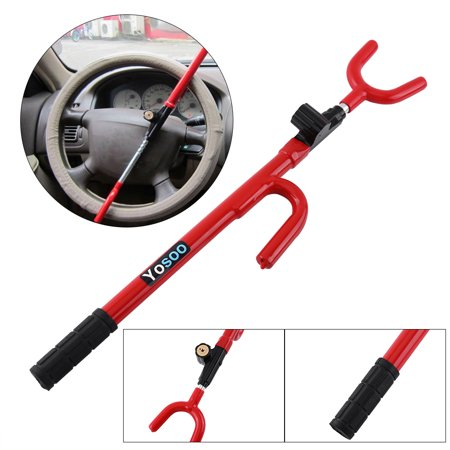 Ejoyous SUV Steering Wheel Lock,Adjustable Universal Anti Theft Security Single Hook Steering Wheel Lock System for Car Truck SUV Van (Red+Black)