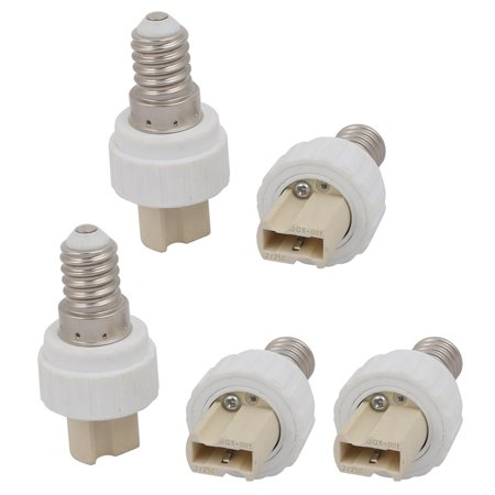 Unique Bargains 5pcs E14 to G9 Extender Adapter Converter Lamp Bulb Socket Holder White