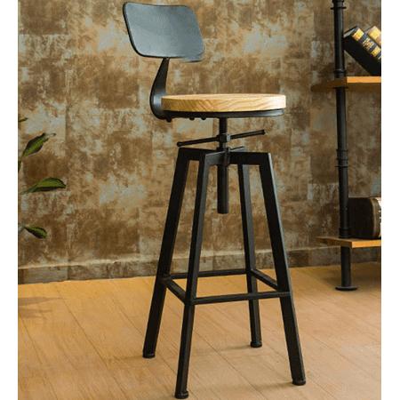 Awe Inspiring Vintage Breakfast Seat Metal Solid Wood Adjustable Height Ibusinesslaw Wood Chair Design Ideas Ibusinesslaworg