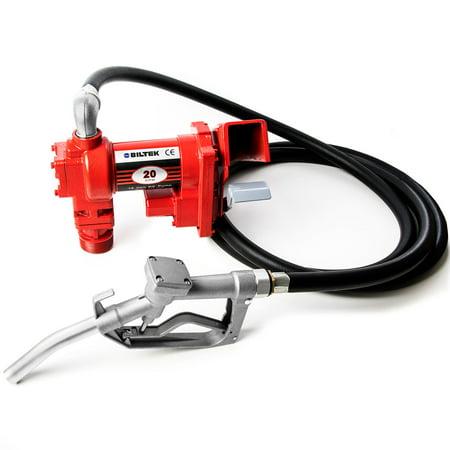 12V DC High-Flow 20 GPM Fuel Transfer Pump for Gasoline, Diesel Fuel, Kerosene, Mineral Spirits, Heptane, Hexane, E15, Biodiesel, and Similar Fuels or Oils Chrome Oil Pump