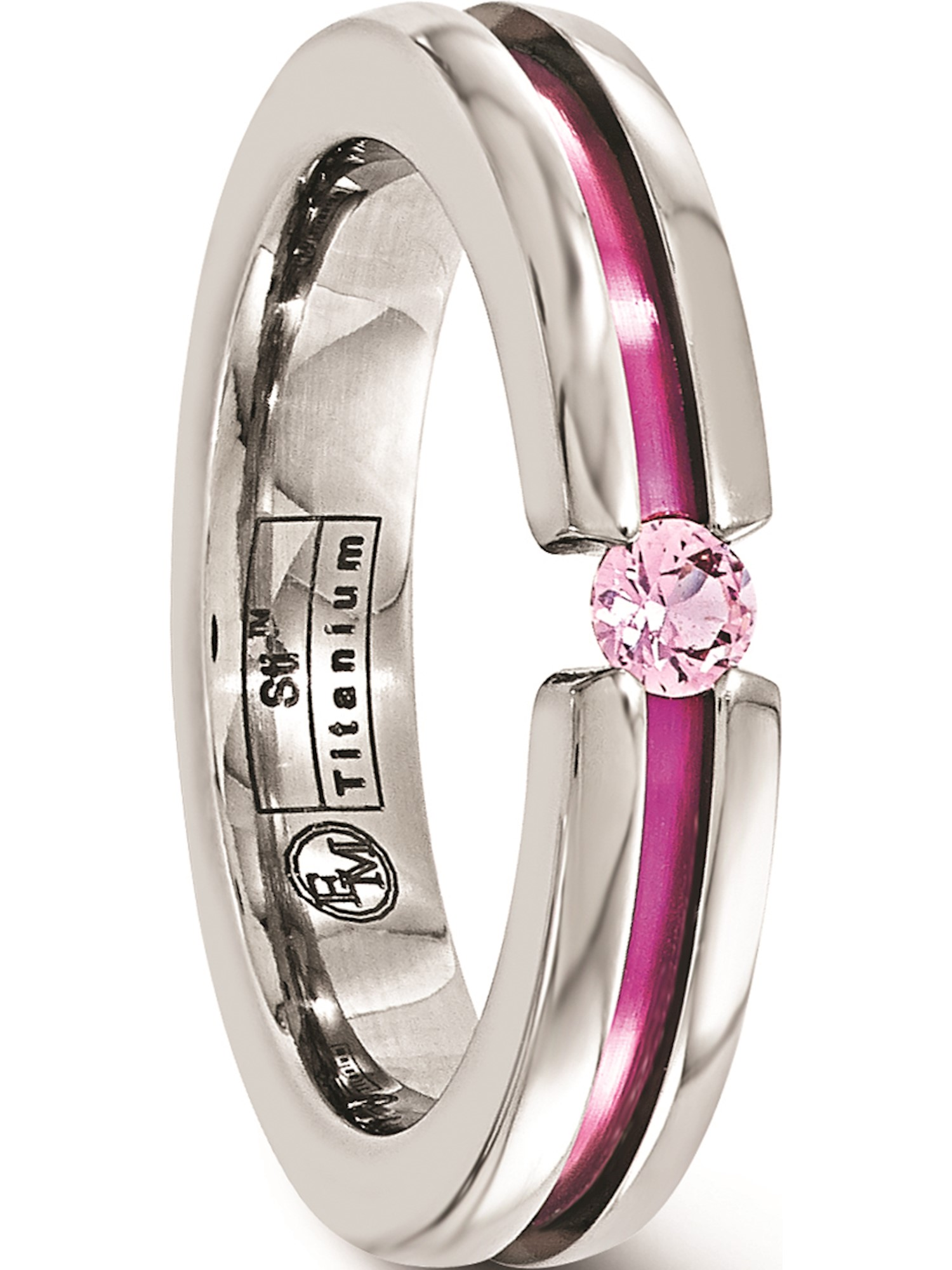Titanium Pink Sapphire and Anodized Grooved Wedding Band Fine Jewelry Ideal Gifts For Women
