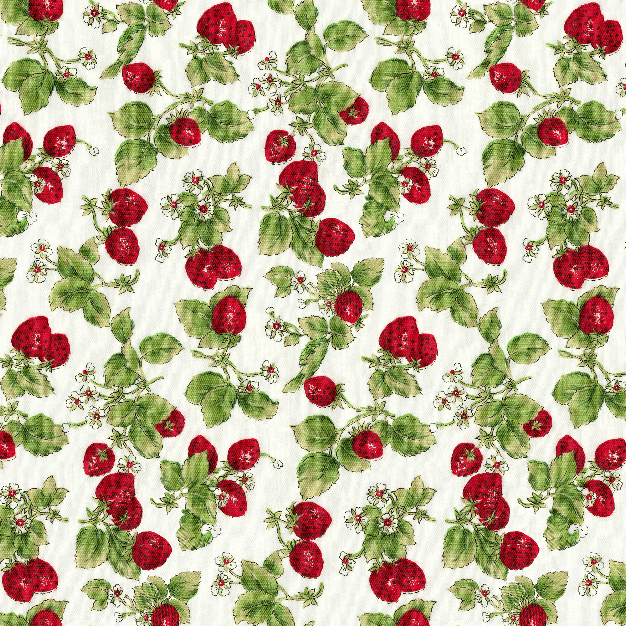 "David Textiles Quilting Cotton 44"" Rose & Hubble Strawberries Fabric, per Yard"