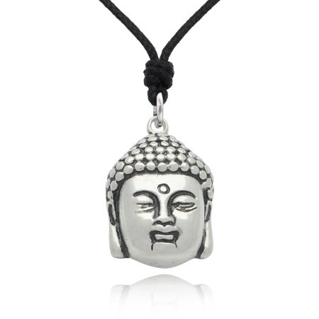 Buddha Head Yoga Meditation Size L Silver Pewter Charm Necklace Pendant Jewelry With Cotton Cord (Yoga Charms)
