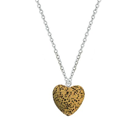 Anavia Anavia Yellow Heart Lava Bead Aromatherapy Jewelry Essential Oil Necklace With Gift Box Walmart Com