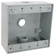 Hubbell Electrical TGB50-3 2 Gang Outlet Box With Three 0.5 in. Holes, Gray