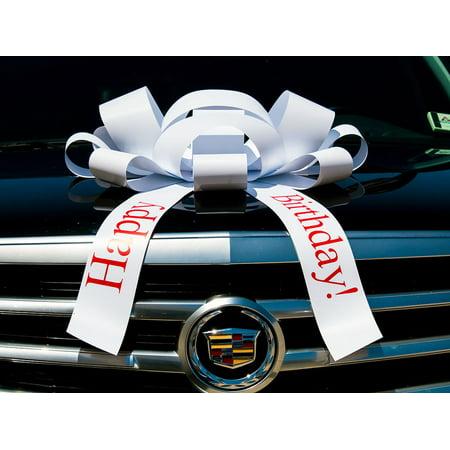 Car Bow (CarBowz Big White Car Bow, Happy Birthday Bow, Giant 30