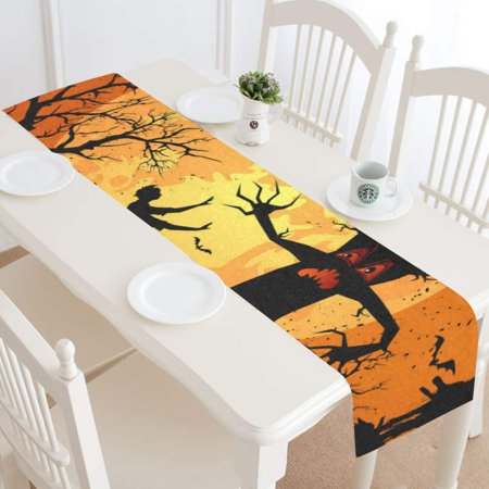 MKHERT Halloween Scary Tree Table Runner for Kitchen Wedding Party Home Decor 14x72 inch](Scary Trees For Halloween)