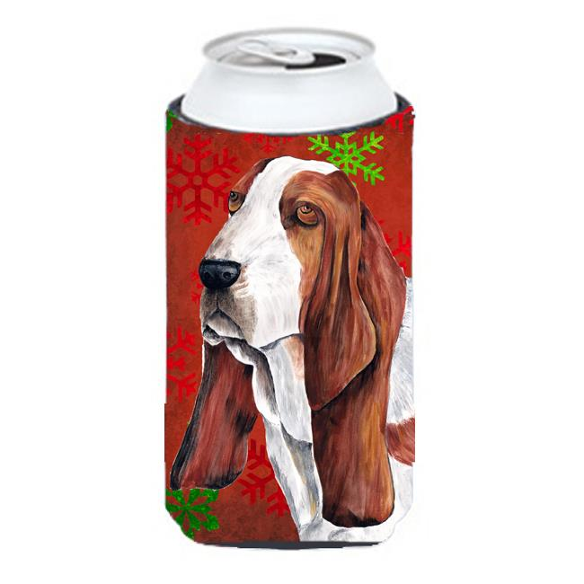 Carolines Treasures SC9412TBC Basset Hound Red and Green Snowflakes Holiday Christmas Tall Boy   Hugger - image 1 of 1