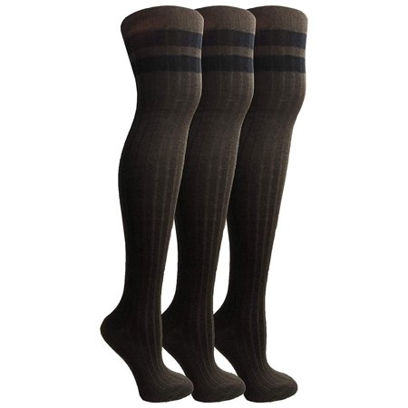 Yacht&Smith Womens Over the Knee Socks, 3 Pairs Premium Soft, Cotton Colorful Patterned (3 Pair Brown Combo) Pattern Knee Sock
